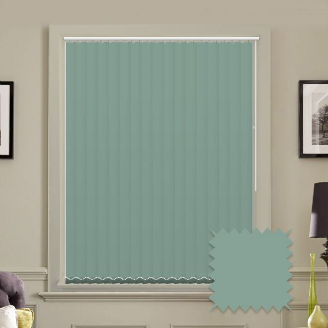 Made to measure vertical blinds in Carnival Misty Blue plain fabric - Just Blinds